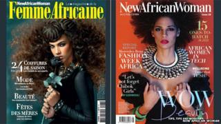 Front cover of pan-African magazine Femme Africaine next to its English language counterpart new African Woman