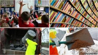 Classroom, library, bin lorry and gritting - council services