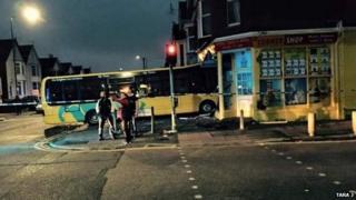 Bus in The Corner Shop in Winton, Bourenmouth