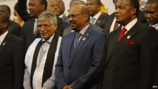 Sudan's President Omar al-Bashir in group photograph ahead of African Union summit in Johannesburg. 14 June 2015