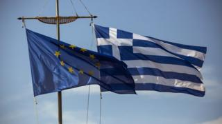 Greece, EU flags