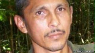 A photo released by the Colombia National Police showing the rebel known as Marquitos
