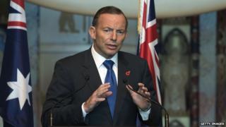 Australian Prime Minister Tony Abbott speaking at a public function