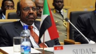 "file photo taken on January 27, 2013 shows Sudan""s President Omar al-Bashir attending the 20th Ordinary Session of the Assembly of the Heads of State and Government (OSOA) during an African Union meeting in Addis Ababa"
