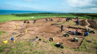 Team at work on the Maryport Roman Temples site