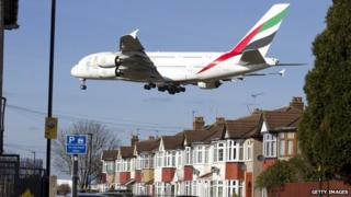 Plane coming to land at Heathrow