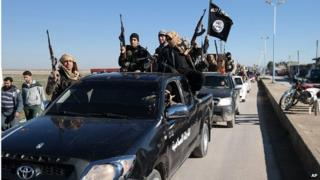 Islamic State fighters in Tel Abyad (file photo)