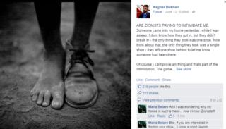 "Asghar Bukhari was roundly mocked online after posting allegations that ""Zionists"" stole one of his shoes"