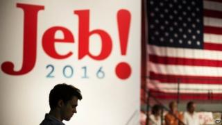 Campaign intern Jack Nalen hands out signs at Miami Dade College in Miami, Monday, June 15, 2015, before former Florida Gov. Jeb Bush is expected to formally join the race for president with a speech.
