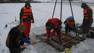 Collecting core samples (Image: Simon Hutchinson)