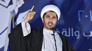 Sheikh Ali Salman speaks during the al-Wefaq general assembly meeting in Karanah village north of the Bahraini capital Manama on 26 December 2014