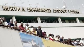 People at the airport in Lagos, Nigeria - archive shot