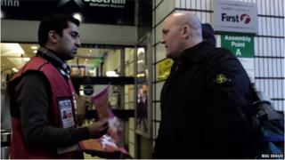 Humza Yousaf at Queen Street Station