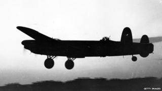 Avro Lancaster setting out on a bombing mission