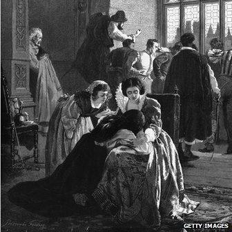 1572: Grieving Huguenots seek to comfort the bereaved during the St Bartholomew's Day Massacre in France