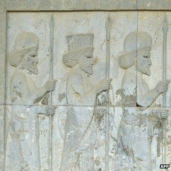 Achaemenid soldiers carved on the wall of the eastern stairway of the Apadana palace in the ancient Persian city of Persepolis