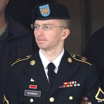 Pte First Class Bradley Manning appeared at Fort Meade, Maryland, on 20 August 2013
