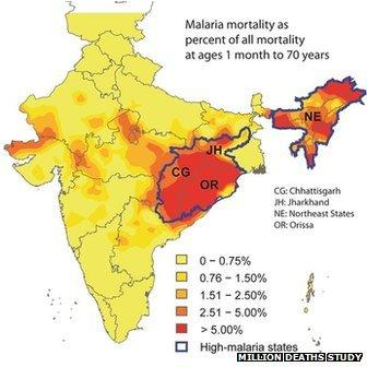 Map of India showing hotspots of malaria deaths in Orissa and Chhattisgarh states
