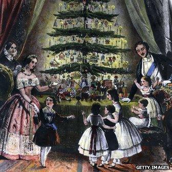 The Royal Christmas Tree is admired by Victoria, Albert and their children - 1848