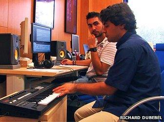 Gustavo Diaz-Jerez plays keyboard