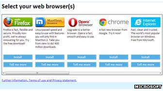 Web browser choice