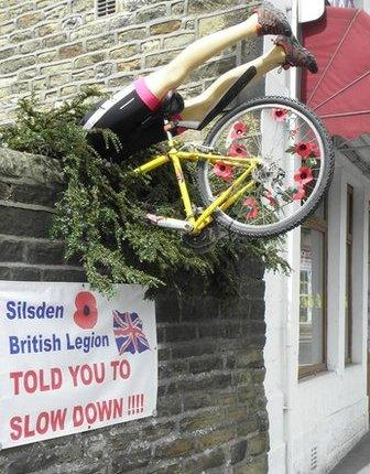 The cyclists will fly past hundreds of bikes painted yellow throughout Yorkshire, and in Silsden there is a warning to those speeding ahead of the crowd