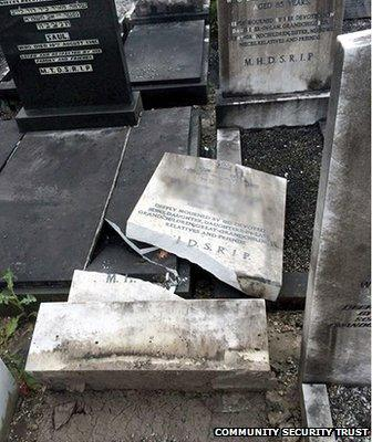 A gravestone broken in half