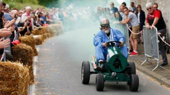 A participant competes during a soap box derby in Colombelles, near Caen, France, on 17 June 2018.