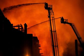 Firefighters battle a blaze at the Mackintosh Building at the Glasgow School of Art for the second time in four years on 16 June 2018 in Glasgow, Scotland.