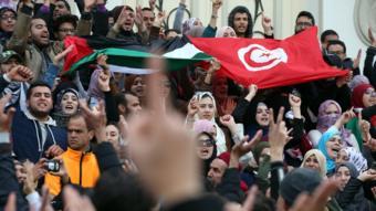 مظاهرة ضد الاجراءات الاقتصادية في تونس