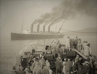 Mauretania tendering at Plymouth.