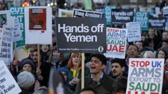 محتجون على حرب اليمن