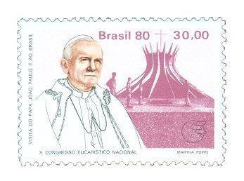 Um dos selos comemorativos feitos pelos Correios em comemoração ao papa João Paulo II no Brasil