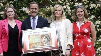 Caroline Criado-Perez with Mark Carney and two female MPs