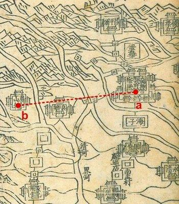 Distance between Forbidden City (a) and the Dashiwo Quarry in Fangshan (b)