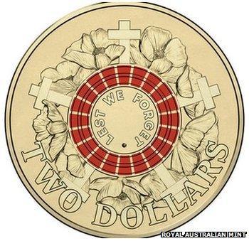 """Australian $2 """"Red Poppy"""" coin"""