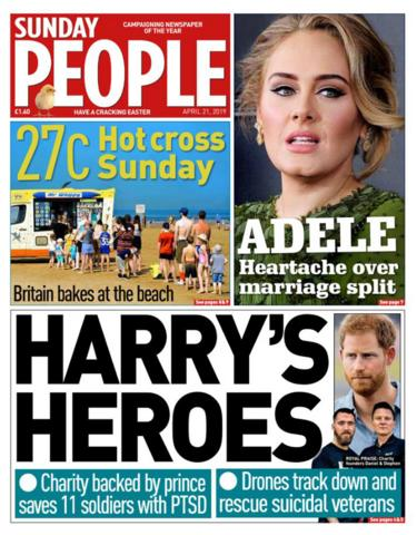 Sunday People front page 21/04/19