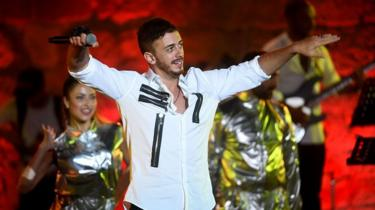 Moroccan singer Saad Lamjarred performs at the International Carthage Festival in Tunisia, 30 July 2016
