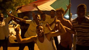 Sudanese demonstrators in Khartoum celebrating