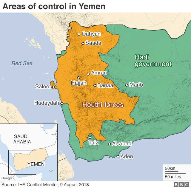 Map showing control of Yemen (9 August 2019)