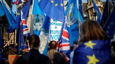 Anti-Brexit supporters protest outside the Houses of Parliament in London. Photo: 1 April 2019