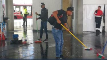 Fare dodgers were made to mop and sweep the floors