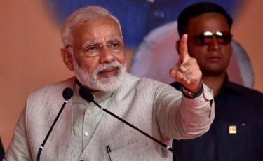 Prime Minister Narendra Modi addressing BJP party workers during a public meeting on October 29, 2017 in Bengaluru.