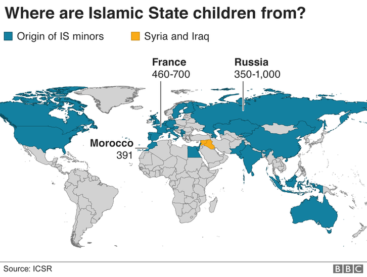 A map of the world showing where IS children are from