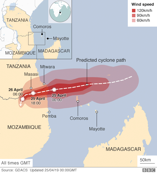 Map showing projected path of storm