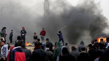 Protesters in Gaza