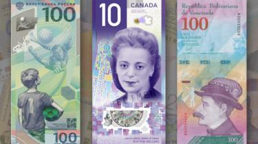 The $10 Viola Desmond note (centre) beat competition from Russia (left) and Venezuela (right)