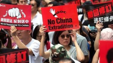 Ratusan pengunjuk rasa turun ke jalan menentang perubahan undang-undang ekstradisi di Hong Kong, China pada 9 Juni 2019