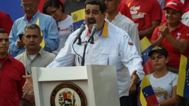 President Nicolas Maduro delivers a speech during a pro-government demonstration in Caracas on March 23, 2019