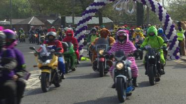 Hundreds of bikers gathered for the 40th annual Easter Egg Run